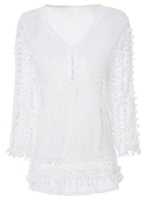 Blusa De Ilhós De Chiffon Branco - Branco L