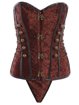 Alloy Chain Steampunk Lace Up Corset - Brown 6xl
