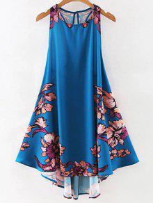 الفستان المستقيم بطبع الزهور مع الياقة الدائرية - الأرجواني الأزرق L