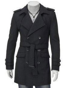 طوق أسفل الياقة تصميم الكتان مزدوجة الصدر طويلة الأكمام معطف الصوف للرجال - أسود Xl