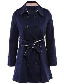 Lapel Double-Breasted Belt Trench Coat - Sapphire Blue Xl