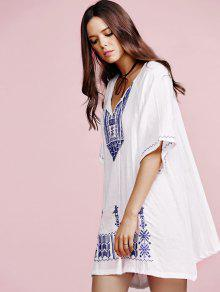V neck dress white