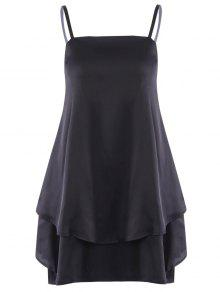 Layered Flounced Chiffon Swing Dress - Black L