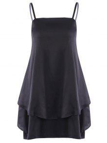 Layered Flounced Chiffon Swing Dress - Black Xl
