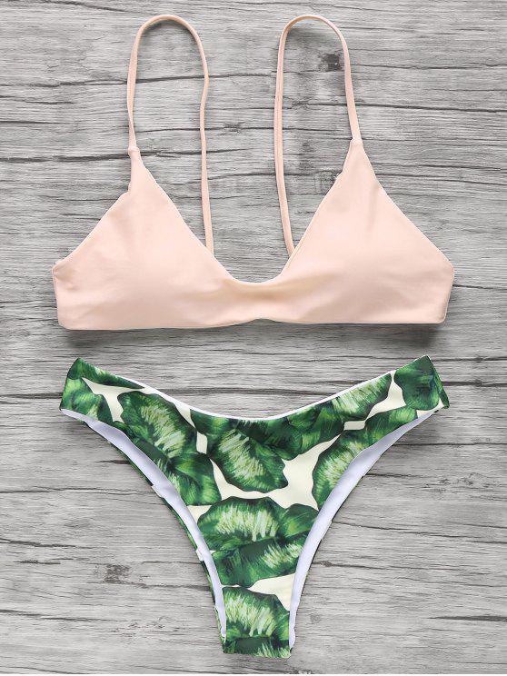 Bikini à bretelle spaghettis imprimé palmier - Rose Abricot Clair L