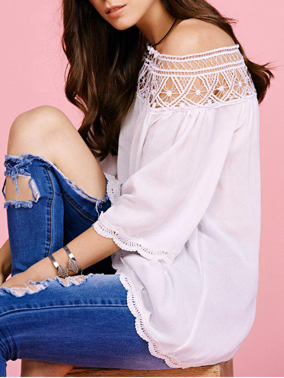 outfits Off The Shoulder Lace Inset Blouse - WHITE L