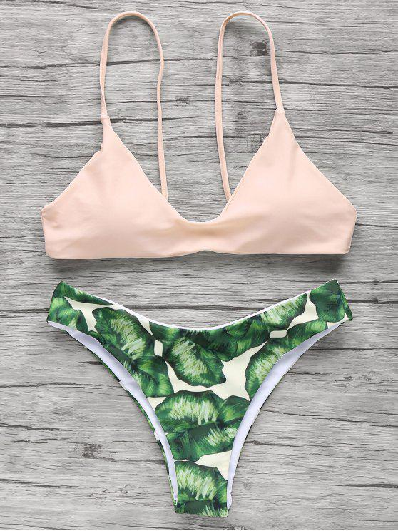 fancy Spaghetti Straps Palm Tree Bikini - LIGHT APRICOT PINK M