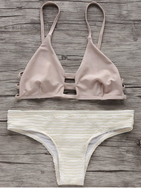 Ensemble de Bikini à bretellle spaghetti à deux couleurs - Blanc Cassé XL