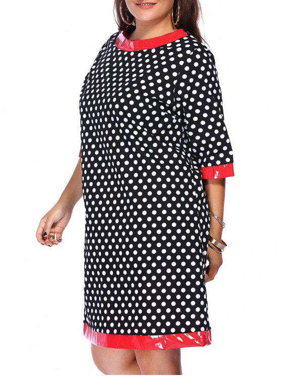 women Polka Dot Splicing Round Neck Plus Size Dress - BLACK L