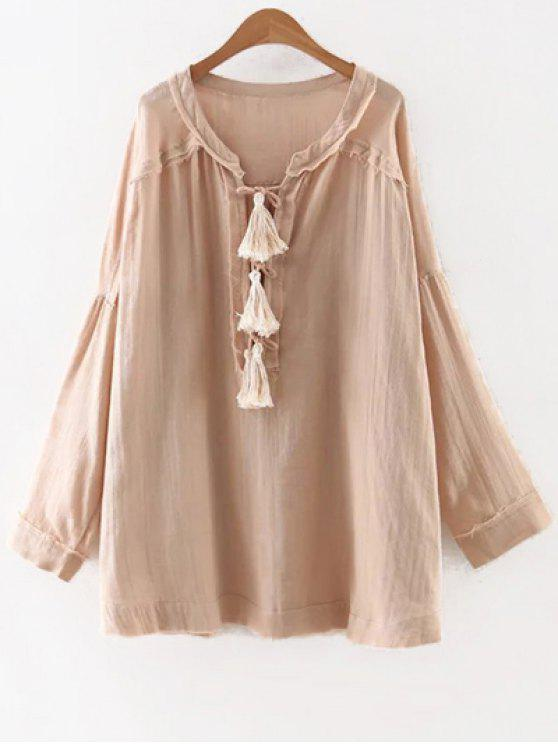 outfit Solid Color Round Neck Long Sleeve Tassels Blouse - NUDE S