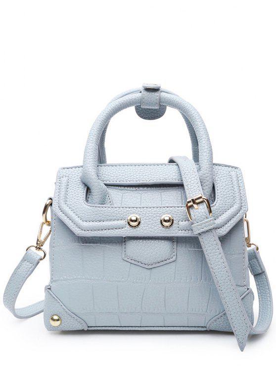 online Rivet Embossing Solid Color Tote Bag - BLUE GRAY