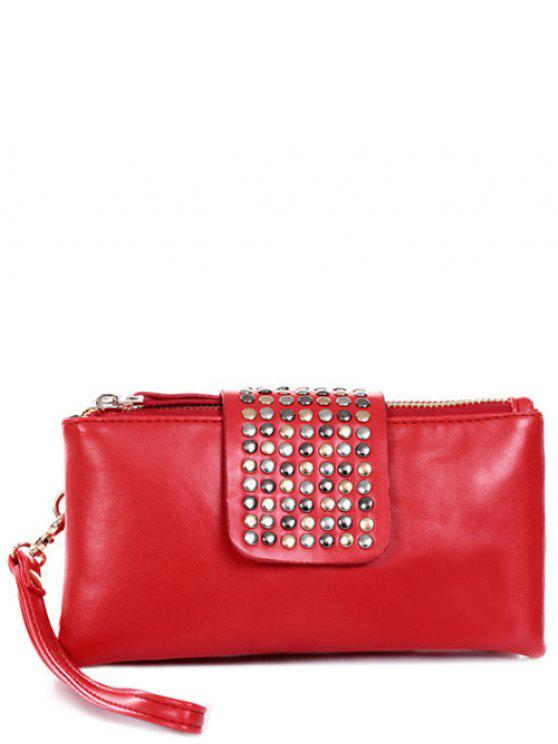 shops Rivet Zips Solid Color Clutch Bag - RED