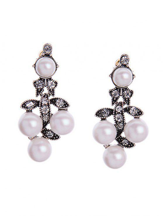 trendy Faux Pearl Leaf Earrings - PEARL WHITE