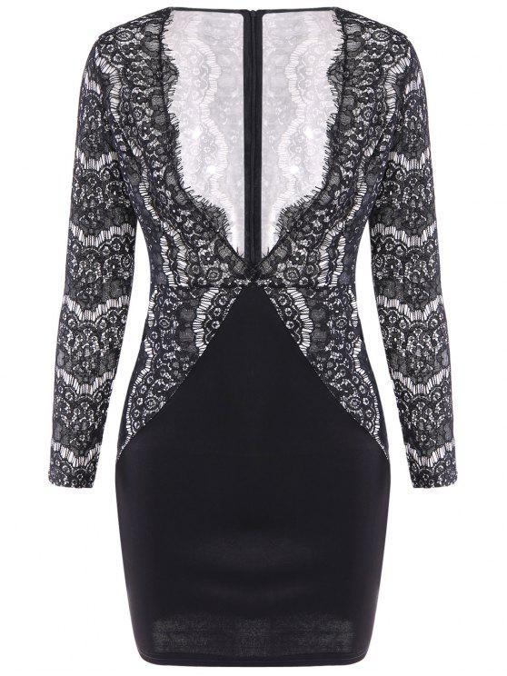 online Lace Spliced Plunging Neck Dress - BLACK S