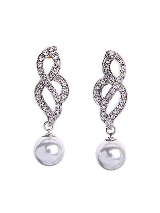 chic Faux Pearl Elegant Lady Earrings - SILVER