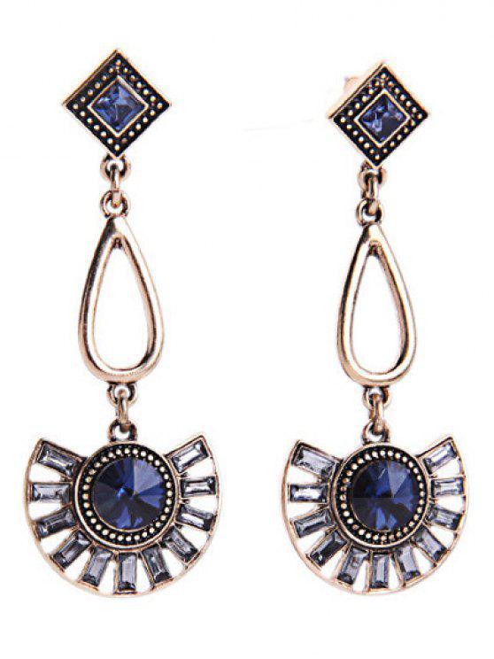 unique Faux Sapphire Fan-Shaped Earrings - BLUE