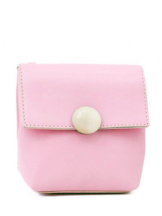 lady Metal Solid Color Stitching Crossbody Bag - PINK