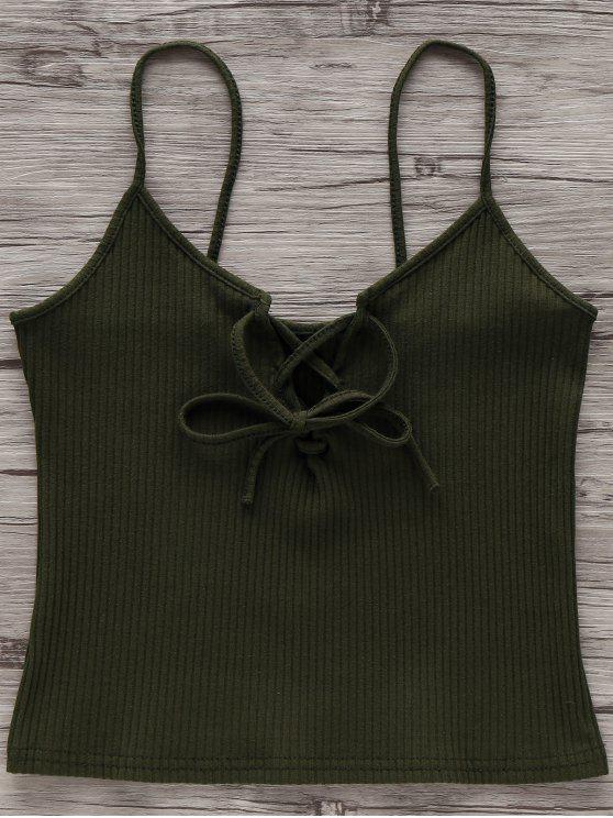 hot Solid Color Cami Lace Up Tank Top - ARMY GREEN CAMOUFLAGE M
