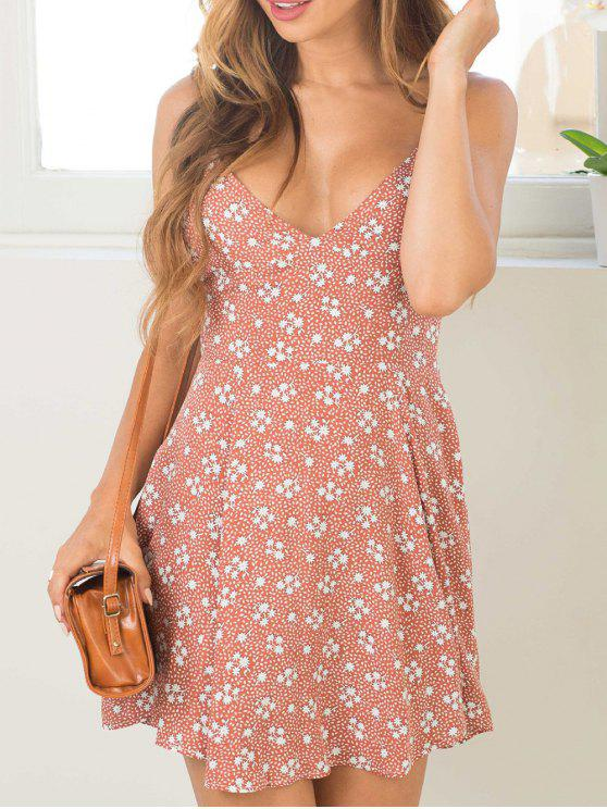 outfit Tiny Floral Cami Mini Dress - PINK S