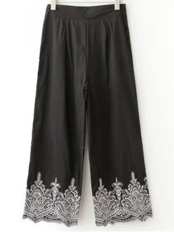 Pantalon large brodés - Noir L