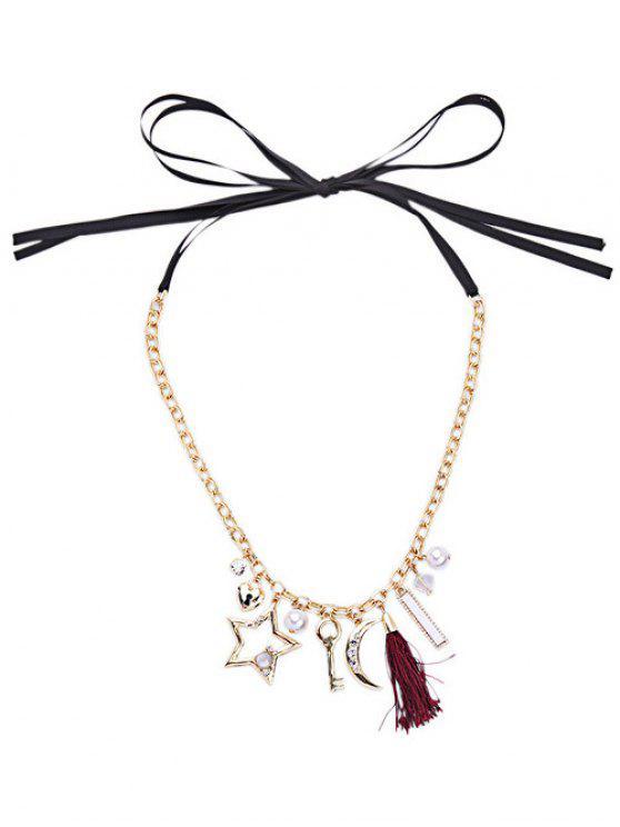 women's Star Key Tassel Pendant Necklace - GOLDEN