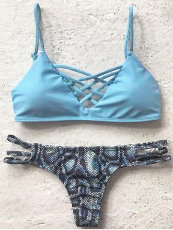shops Printed Spaghetti Straps Bikini Set - LIGHT BLUE M