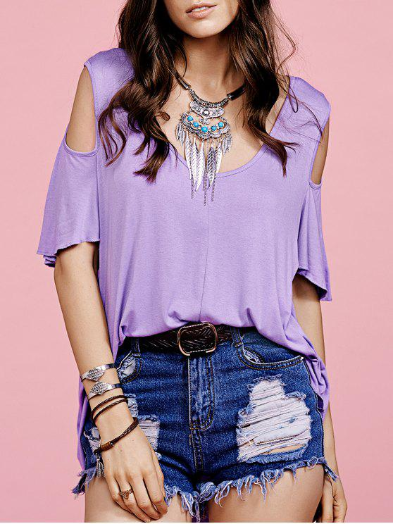 Manga púrpura hueco con cuello redondo corto de la camiseta - Púrpura M