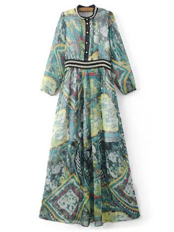 women's Beading Maxi Chiffon Dress - COLORMIX M