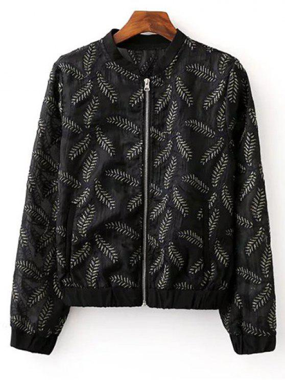 online Leaf Embroidered Pilot Jacket - BLACK S