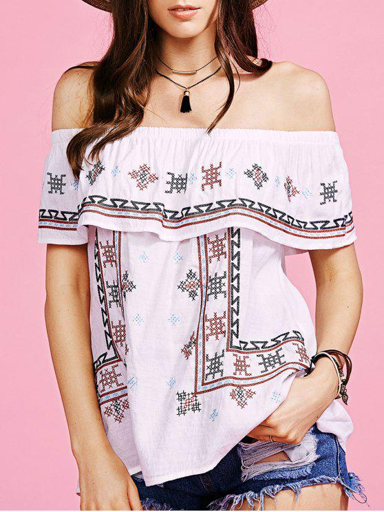 shop Ethnic Style Embroidery Off The Shoulder Blouse - WHITE L