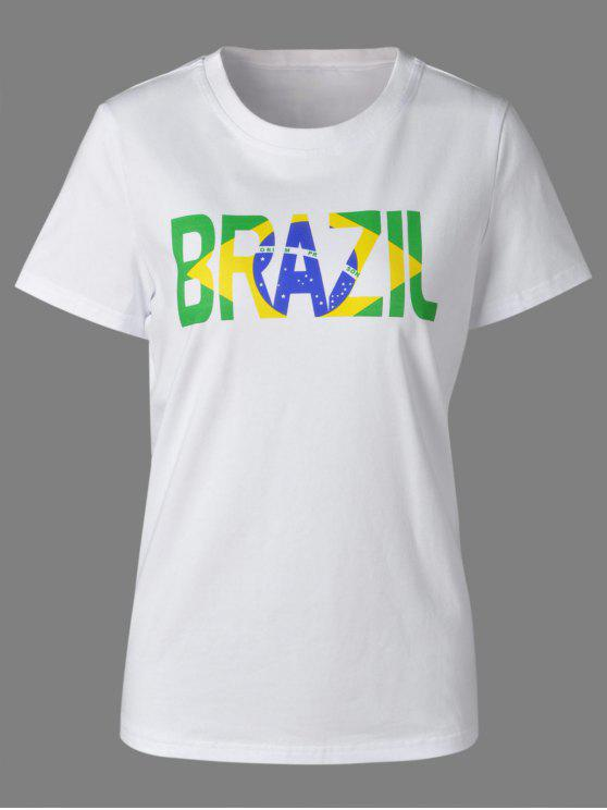 hot Brazilian Flag Print Short Sleeve T-Shirt For Women - WHITE L