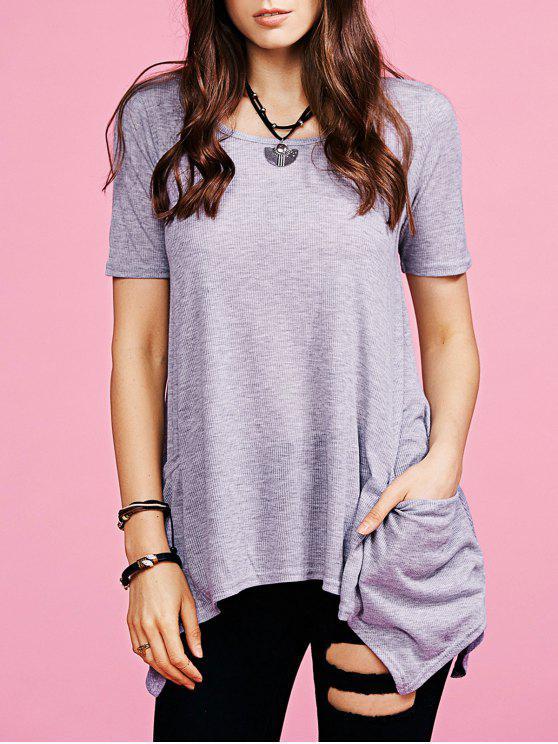 Dobladillo irregular de cuello redondo de los bolsillos de la camiseta - Gris Claro L