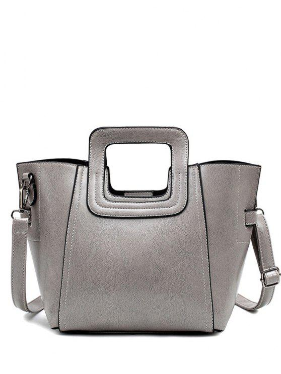 latest Stitching PU Leather Solid Colour Tote Bag - GRAY