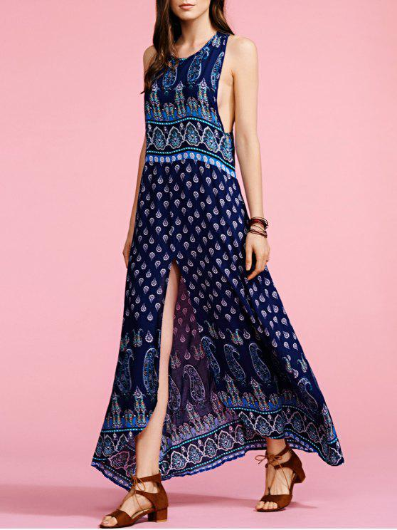 fashion Bohemian Print Sleeveless Maxi Dress - PURPLISH BLUE S