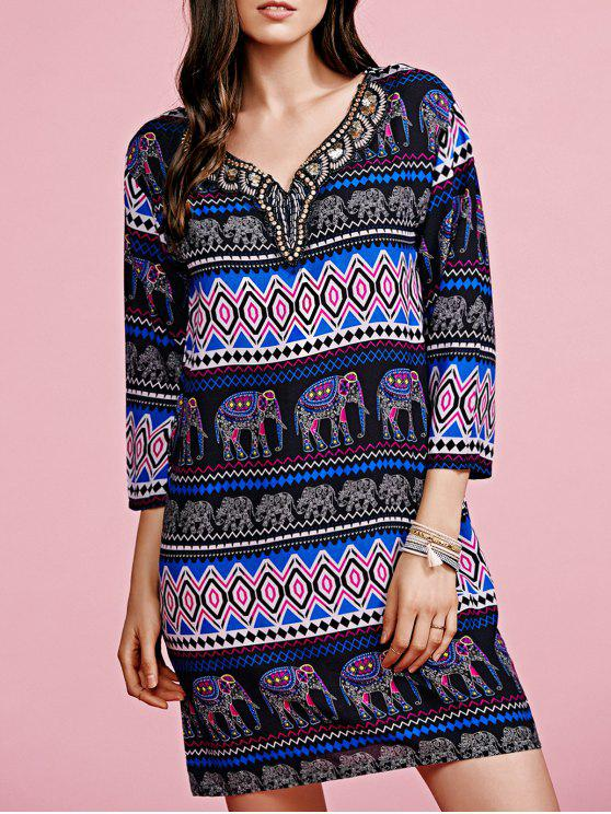 women's Print V-Neck 3/4 Sleeve Beaded Dress - COLORMIX ONE SIZE(FIT SIZE XS TO M)