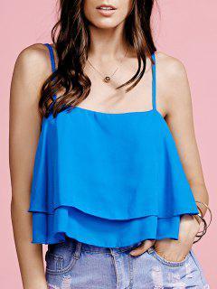 Gekräuseltes Cami Pure Color Crop Top - Blau S