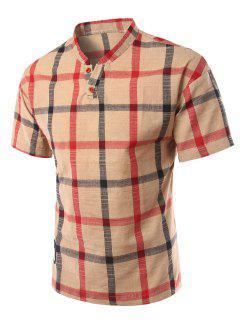 Soporte De Cuello Adelgaza Cuadros De Manga Corta De La Camiseta Del Polo Para Los Hombres - Caqui 5xl