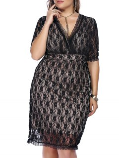 Empire Waist Lace Bodycon Plus Size Cocktail Dress - Black 2xl
