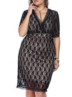Graceful Plus Size Plongeant Robe En Dentelle Cou Moitié Manches Pour Les Femmes - Noir 3xl