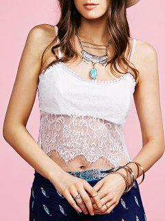 White Lace Spliced Cami Tank Top - White Xl