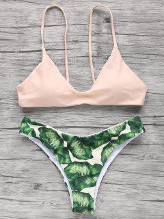 Spaghetti Straps Palm Tree Bikini - Light Apricot Pink L