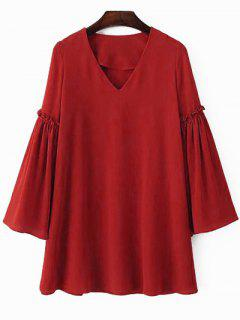 Solid Color V Neck Flare Sleeve Chiffon Dress - Jacinth L