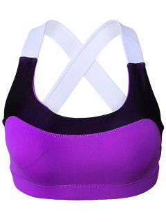 Sport Color Block Scoop Neck Crop Top - Pourpre S