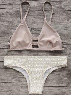 Elastische Spaghettiträger-Bikini-Satz - Beige (weis) S