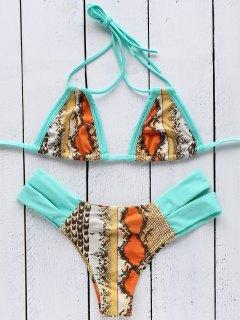 Snakeskin Print Halter Bandage Bikini Set - Tiffany Blue M