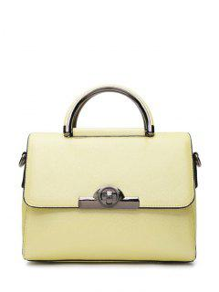 Metal Hasp Candy Color Tote Bag - Light Yellow