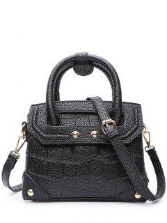 Rivet Embossing Solid Color Tote Bag - Black