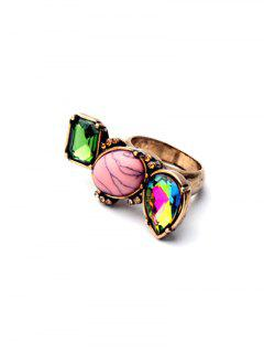 Geometric Faux Gem Ring - Golden