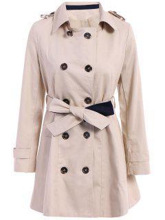Manteau Ceinturé à Couleur Pure à Encolure Crantée à Manches Longues à Double-boutonnage - Abricot L
