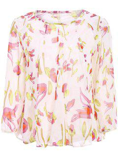 Long Sleeves Floral Print Blouse - Off-white S